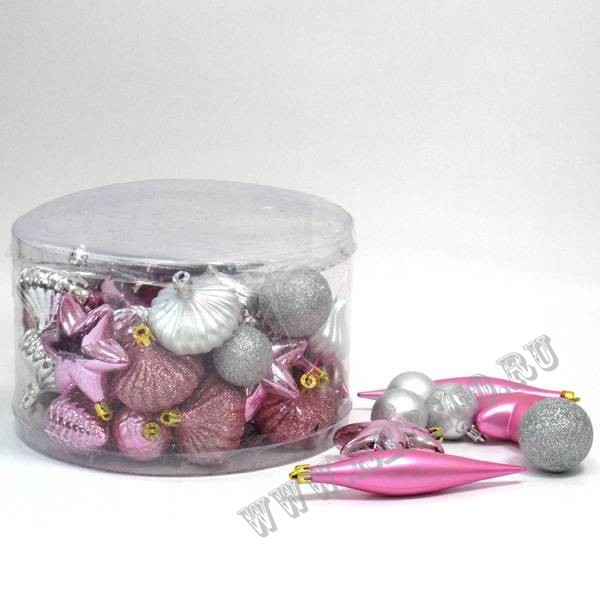Набор из 50-и новогодних украшений в серо-розовых оттенках