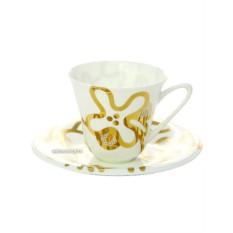 Чайная чашка с блюдцем, форма Сад, рисунок Эмилия золотая