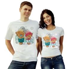 Парные футболки Мишки в шапочках