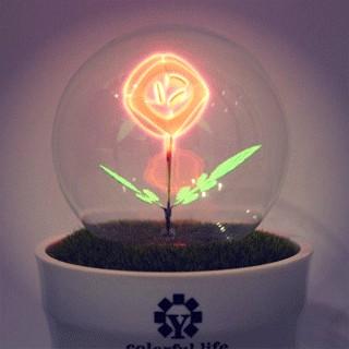 Светящийся цветок в горшочке