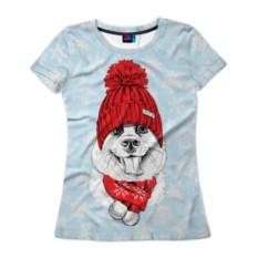 Женская футболка 3D Собачка в шапочке