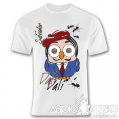 Мужская белая футболка с совой Дали от Goofi