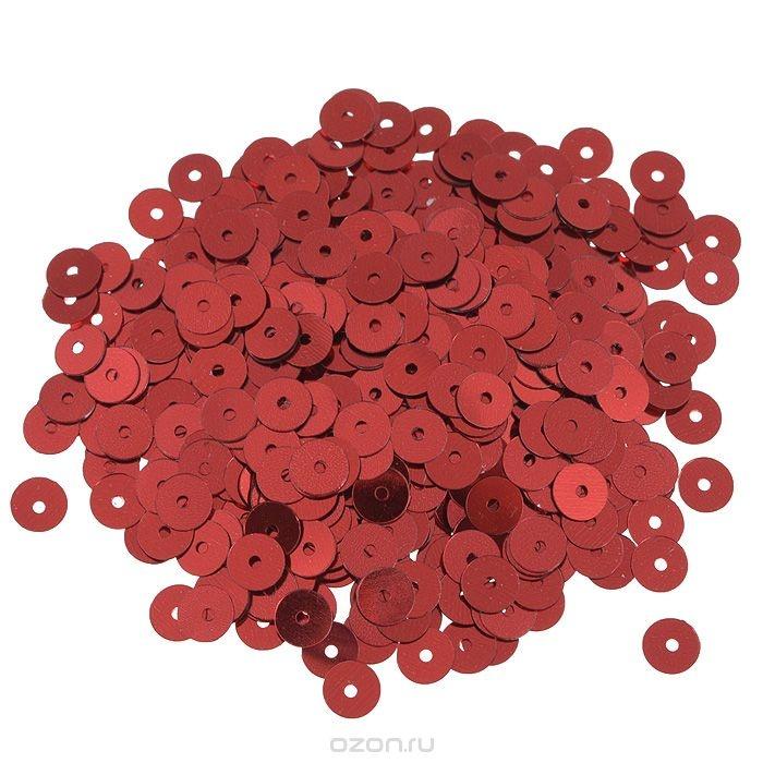 Плоские пайетки Астра, цвет: красный, 6 мм, 10 г. 7700471_3