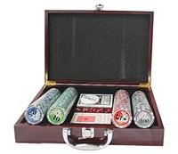 Набор для покера 200 11,5гр в деревянном  кейсе