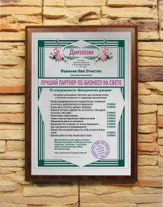 Подарочный диплом Лучший партнер по бизнесу на свете