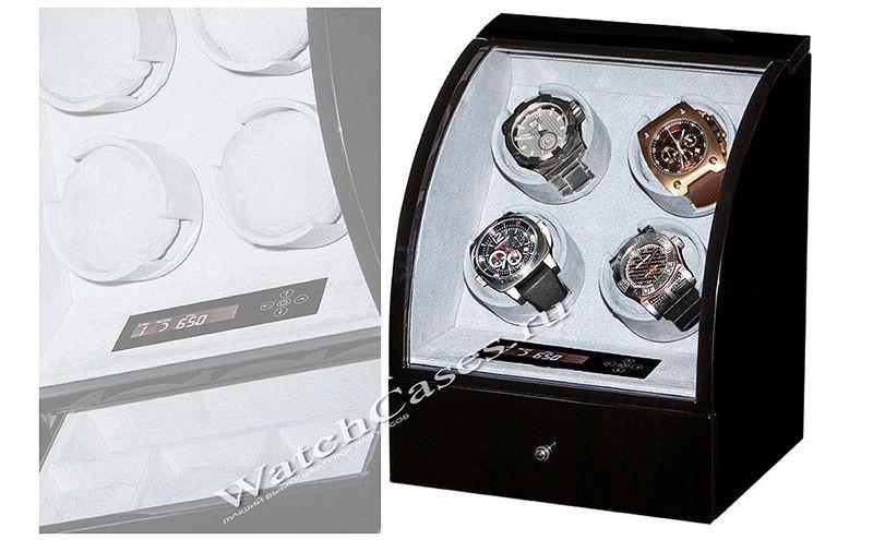 Шкатулка для часов с автоподзаводом, венге, бархат, черная