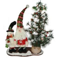 Новогодняя композиция Снеговик и Дед Мороз