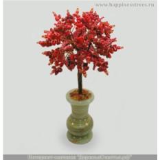 Дерево из коралла Лада в вазочке из оникса