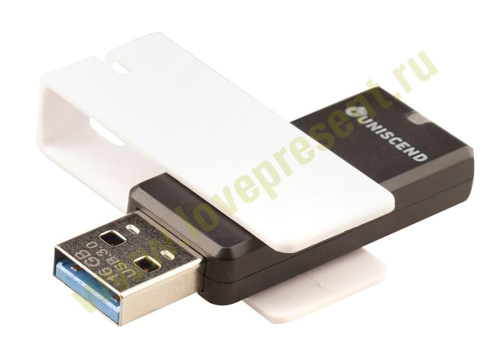 Флешка Uniscend Turn usb 3.0, черная с белым, 16 Гб