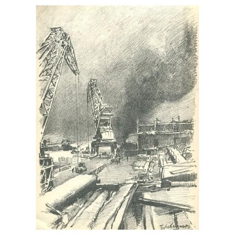 Гравюра «Ангар ГЭС, соцреализм»
