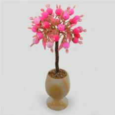 Дерево любви из розового агата в вазочке из оникса