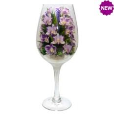 Цветы в стекле: композиция из натуральных орхидей в бокале