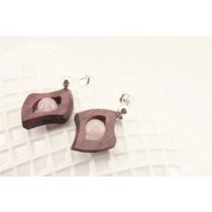 Серьги деревянные «Бутон магнолии»