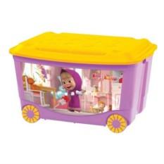 Сиреневый ящик для игрушек на колесах Маша и медведь