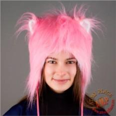 Розовая пушистая шапка с ушками