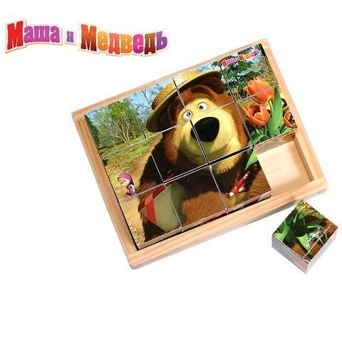 12 кубиков Маша и Медведь (дерево, 3х4)
