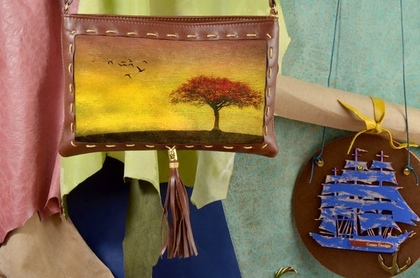 Клатч с принтом Теплый осенний пейзаж