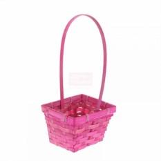 Плетёная розовая корзина Бамбук