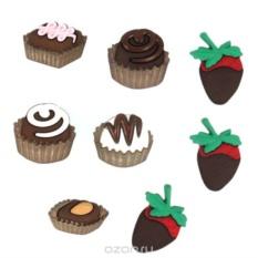 Пуговицы декоративные  Шоколадные сладости, 8 шт