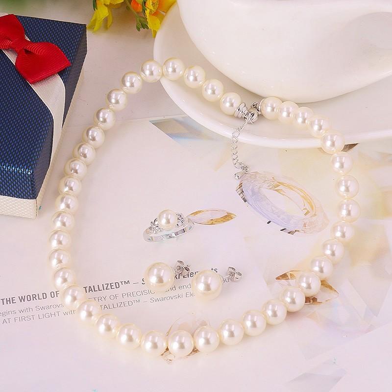 Комплект «Перламутровый блеск» с белым жемчугом