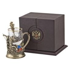 Набор для чая Георгий Победоносец из бронзы в футляре