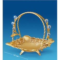 Конфетница с кристаллами Swarovski (цвет - золото)