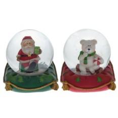 Фигурка в стеклянном шаре Санта, Медведь