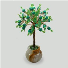 Дерево из малихита Радость жизни в вазочке из оникса