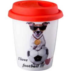 Кружка с силиконовой крышкой I love football