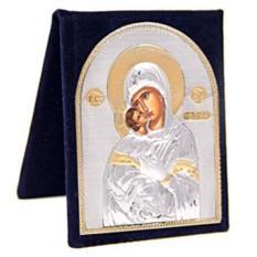 Серебряная икона Владимирская Божья Матерь в футляре