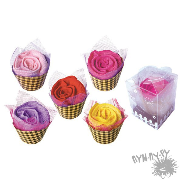 Махровые полотенца-пирожные Корзинки с розами