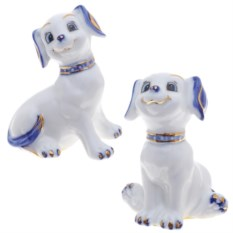 Бело-голубая декоративная фигурка Собачка