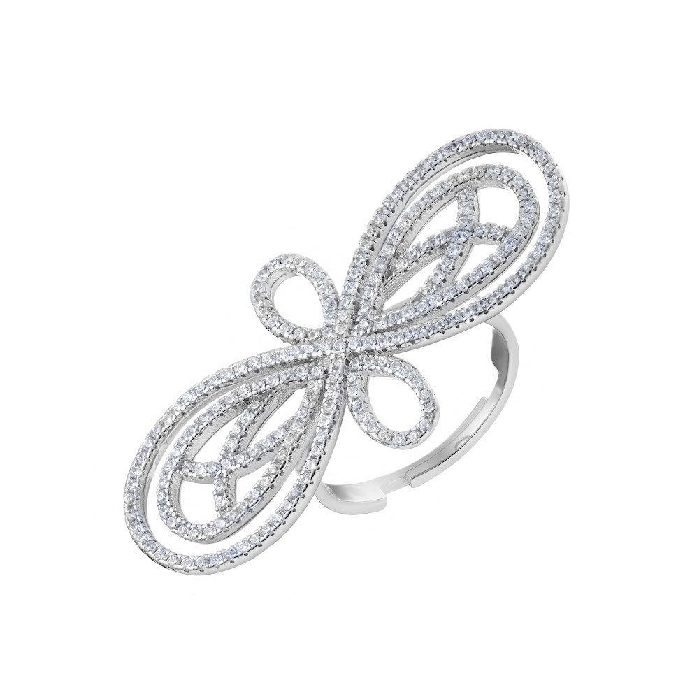 Серебряное кольцо на три пальца,  украшено фианитами