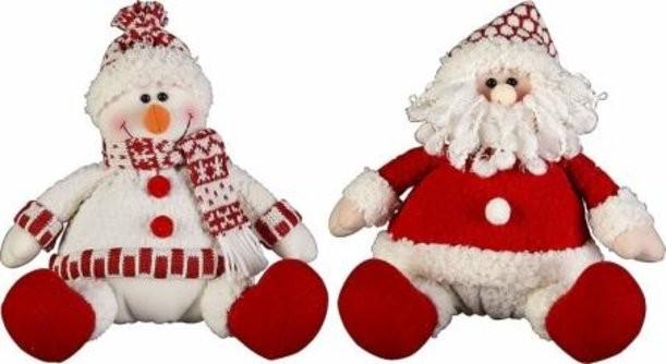 Мягкие игрушки Дед Мороз и Снеговик (15 см)