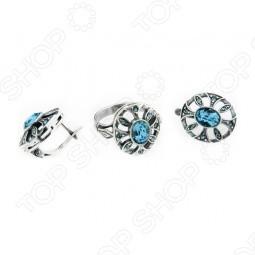 Серьги и кольцо JENAVI «Луара» с голубым кристаллом
