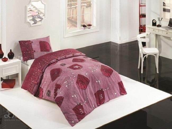 Постельное белье Элегант Jeans розовое 160х220 1,5-сп