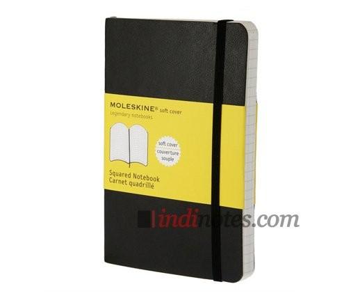 Черная записная книжка в клетку Classic Soft, Pocket