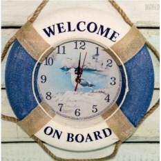 Голубые настенные часы Спасательный круг 35 см