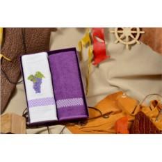 Набор кухонных полотенец (белый, фиолетовый; махра, хлопок)