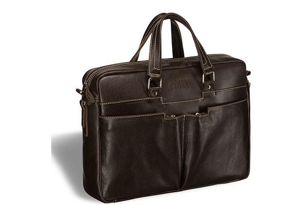 Вместительная коричневая деловая сумка Brialdi Lakewood