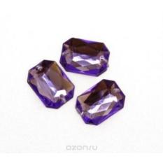 Пришивные стразы Астра, акриловые, прямоугольные, цвет: фиолетовый, 6 шт.