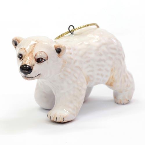 Елочная игрушка Медвежонок белый (идущий)