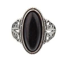 Кольцо из мельхиора в посеребрении с авантюрином Кассиопея