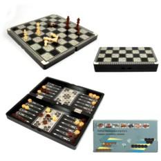 Черный настольный набор игр 3 в 1: шахматы, нарды, шашки