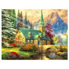 Картина-раскраска на холсте по номерам Часовня