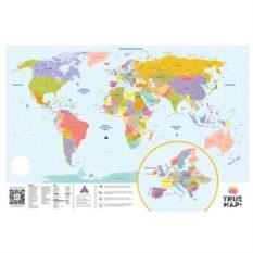 Большая карта мира со стирающимся скретч слоем True Map Plus