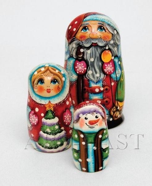 Матрешка Снеговик из трех частей