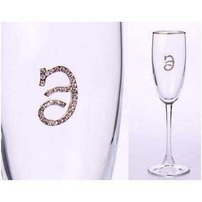 Бокал для шампанского «Э» с золотой каймой