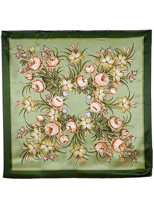 Павлопосадский шелковый платок с рисунком Жаворонок