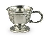 Кофейная серебряная кружка Царская, с оксидированием